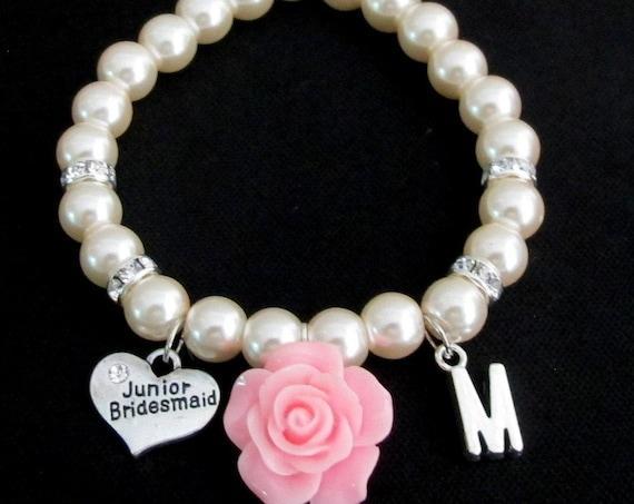 Personalized Junior Bridesmaid Bracelet ,Pink Rose Flower Initial Pearl Bracelet, Jr Bridesmaid Bracelet, Childrens Jewelry, Wedding Jewelry