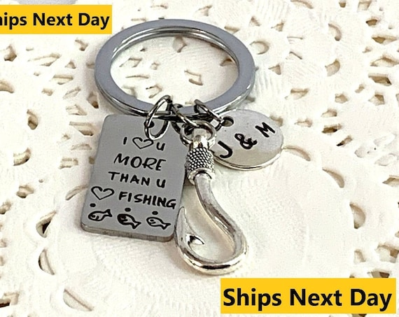 Fishing gift Husband Anniversary Present Fishing Keychain Boyfriend Gift Anniversary Dating gift Valentine's Day  Gift for Dad Gift for Him