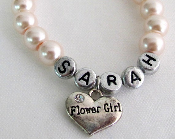 Personalized Flower Girl,Flower Bracelet Bracelet,Flower girl name bracelet,Wedding Jewelry Flower Girl Jewelry Free Shipping In USA