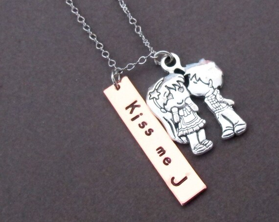 Kiss Me Necklace,You and Me Handstamped Necklace,I Miss You,I Love You theme,Xoxo Necklace,I Need You,Date,Name Jewelry,Free Shipping In USA