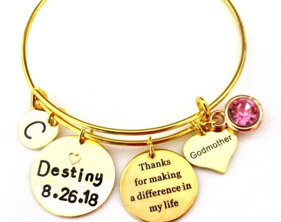 Godmother Bangle Bracelet,Best Godmother Personalized Bracelet,Godmother Thank You gift,Christmas Gift,Aunt gift,Bonus Mom,Free Shipping USA