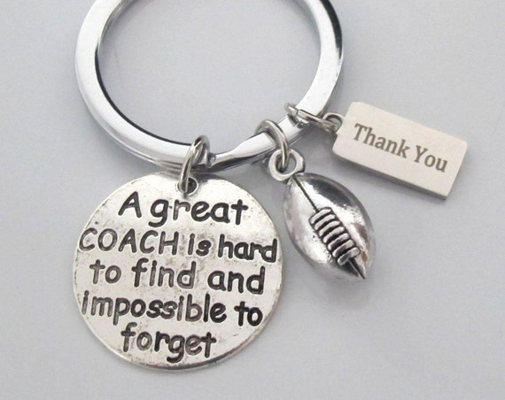 Give Your Coach A Thank You Gift, Personalized Coach gift,Football team gifts Personalized football key chain,Football Mom gift,Senior Gift