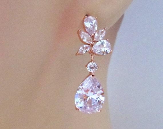 Rhinestones pageant earrings prom earrings,bridal earrings, bridesmaids jewelry crystal teardrop earrings rose gold wedding bridal earrings