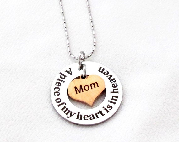 Personalized Memorial Jewelry,Memorial Necklace,Memory Of Mom, Dad,Sympathy Gift Memorial Gift, Parent Loss,A piece of my heart is in heaven