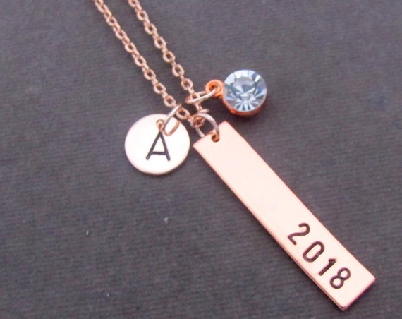 Rose gold Graduation Necklace, Gift for Graduate, Gift for her, 2019 Graduation Necklace, Custom Name Date Bar Necklace, Free Shipping USA