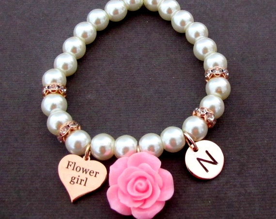 Flower girl Rose Gold Bracelet, Personalized Flower Girl Bracelet, Rose Gold Bracelet,Rose gold Junior Bridesmaid gift,Free shipping USA