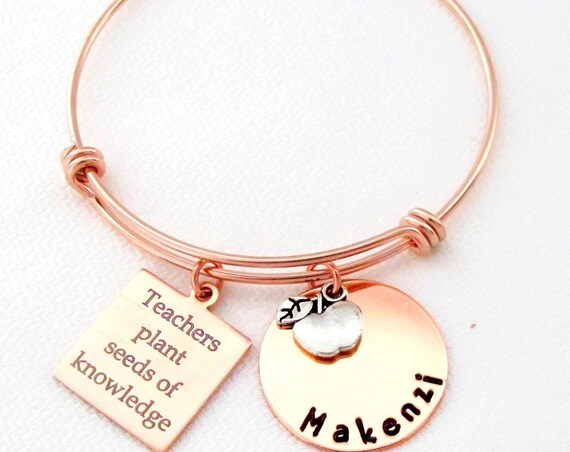 Personalized Teacher Christmas gift,Rose Gold Bracelet,Teaching Gift Teach Gift,Teacher Jewelry,Teacher Appreciation,Free Shipping USA
