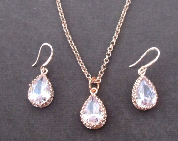 Roe gold wedding jewelry set, Bridesmaid gift set, Rose gold CZ Teardrop set, Cz teardrop earrings,cz water drop necklace,Bridal Party gifts