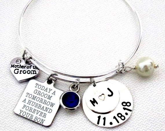 Mother of the groom bangle,Mother of the groom set,Mother of the groom gift,Today a Groom Tomorrow a Husband Forever Your Son,Wedding gift