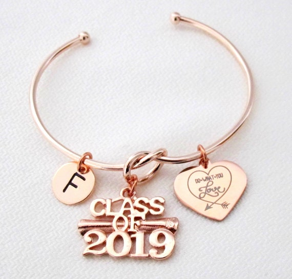 Do what you love Love what you do,Class of 2019 Graduation gift,Personalized Initial Bracelet,Rose Gold Graduation Gift,College Graduation