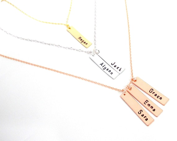 Personalized Bar Necklace Engraved Necklace Personalized Necklace Sister Gift Gift for Mom,Gift for Best Friends,,Free Shipping USA