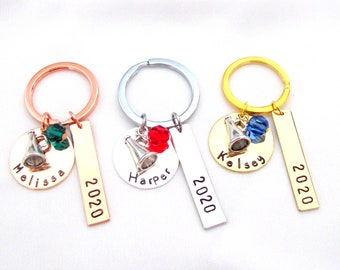 Personalized Cheerleader keychain - Cheer Team jewelry -Cheerleader Gifts - Cheer Team Gift - Cheer Squad jewelry  Hand Stamped Personalized