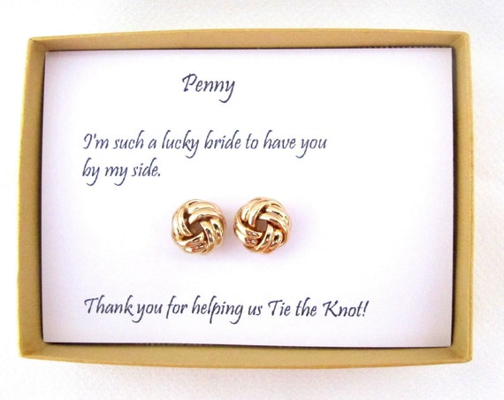 Knot Earrings, Bridesmaid Proposal Love Knot Earrings, I Couldn't Tie the Knot Without You, Bridesmaid knot earrings, Bridesmaid gift.
