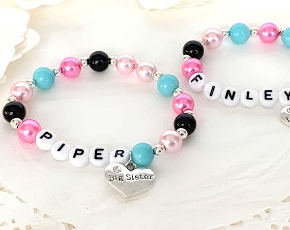 Little Girls Name Bracelet  Big Sister Little Sister Pearl Bracelet Flower Girl Personalized Bracelet Free shipping In USA