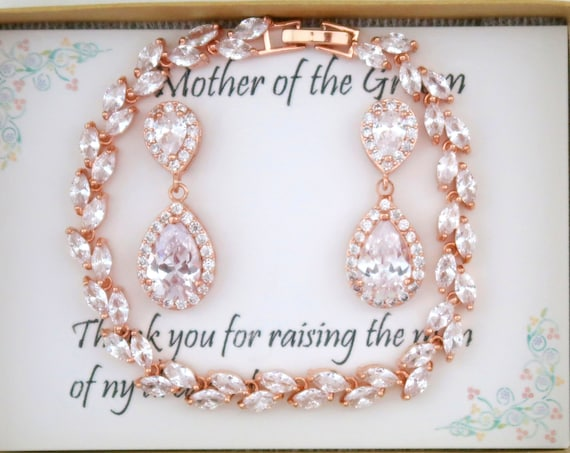 CZ Bridesmaid gift,Custom color Personalized rose Gold Bridesmaid Gift , Bridal Jewelry Set Bridesmaid gifts,Wedding Gift Free Shipping USA