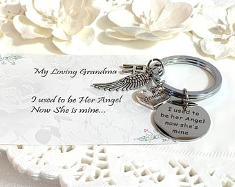 I used to be her angel now she's mine, Great Grandma, Grandma, Mom Memorial gift, Memorial Key Chain, Remembrance Jewelry, Bereavement gift