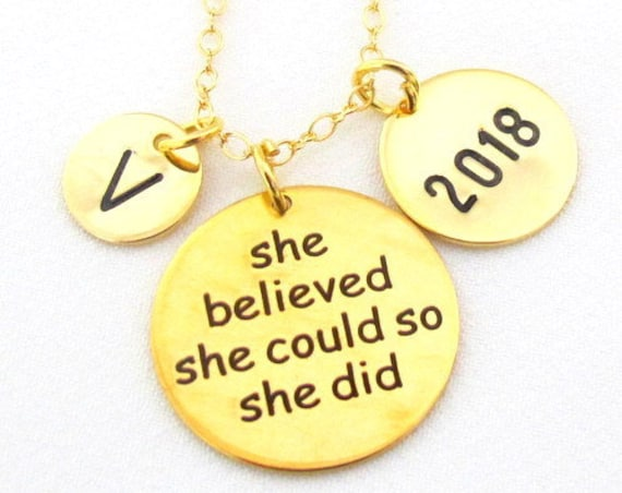 2018 Graduation Necklace,Gold Grad Necklace,Graduation Gift for Her,2018 Graduate Gift,She Believed She Could,College Grad,Free Shipping USA