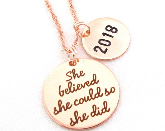 Rose Gold graduation necklace,2019 Graduation Necklace,She Believed She Could So She Did Necklace, Graduation Gift, Free Shipping USA