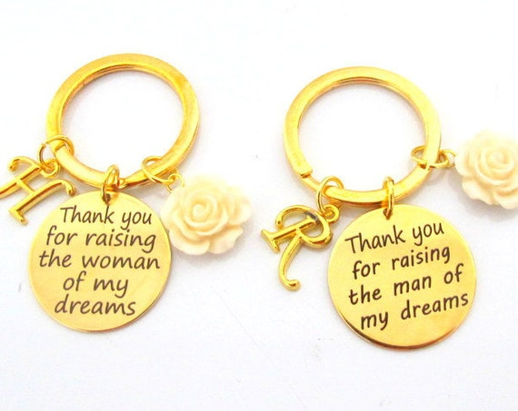 Wedding Keychain,Wedding Gift for Mother In Law,Mother of groom gift,Mother of Bride gift,Thank you for Raising Man of my life gift