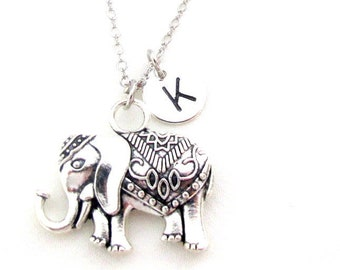 Elephant Necklace,Personalized Necklace Sister Gift ,You Are Stronger necklace,Animal initial neck birthday gift-,Free shipping in USA