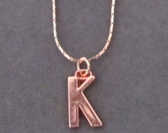 Rose gold Initial Necklace,Rose Gold Alphabet Charm,Rose Gold Initial Necklace,Birthday gift, Rose Gold Letter K Charm, Free Shipping USA