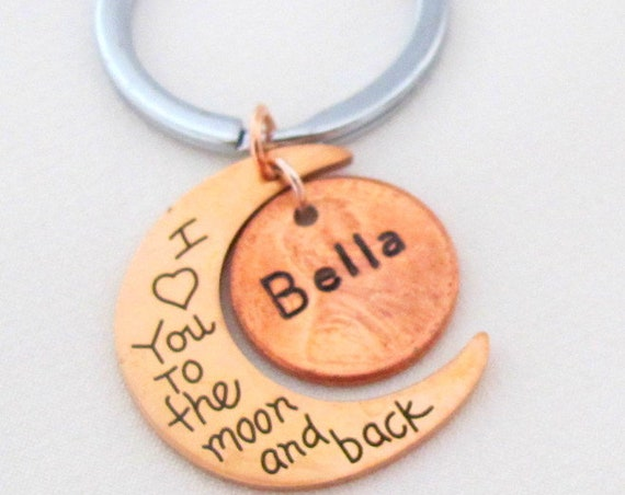 Personalized I Love you to the Moon and Back, Rose Gold Moon Keychain,Stamped Penny Keychain, Anniversary gift,Love gifts, Free Shipping USA