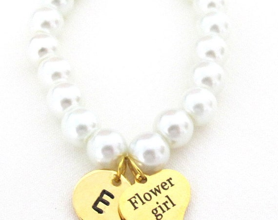 Gold Flower Girl Bracelet,Personalized Flower Girl Jewelry,Flower Girl Gift, Junior Bridesmaid gift,Children,Girls Jewelry,Free Shipping USA