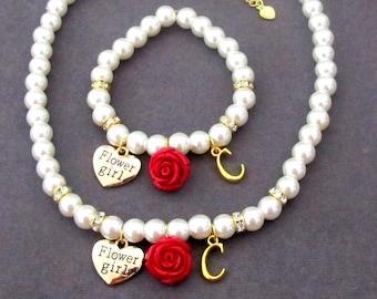 Rose Flower Girl Necklace and Bracelet, Gold Initial Necklace, Gold Flower girl jewelry, Gold Jewelry Rose Flower Necklace, Wedding Jewelry