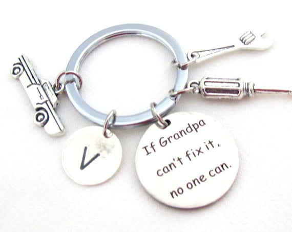 Father's Day Gift,If Grandpa Can't fix it no one can,Grandpa Gift,Grandpa Keychain,Gift for Handyman,Car Mechanic gift, Free Shipping In USA