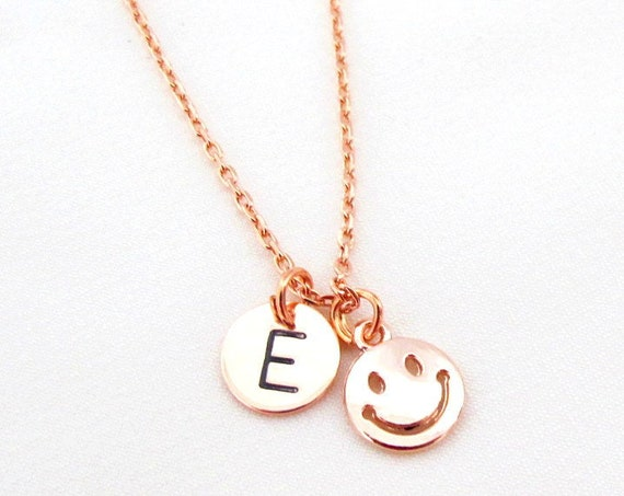 Emoji Pendant Smiley Face Necklace,Rose gold Smiley Face Necklace,Emoji Charm Necklace,Birthday gift Smiley Emoji Necklace Free Shipping USA