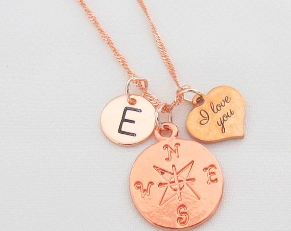 Rose Gold Compass Necklace,Rose Gold I Love You Necklace,Initial Necklace,Engraved Compass Jewelry, Long Distance gift, Free Shipping In USA