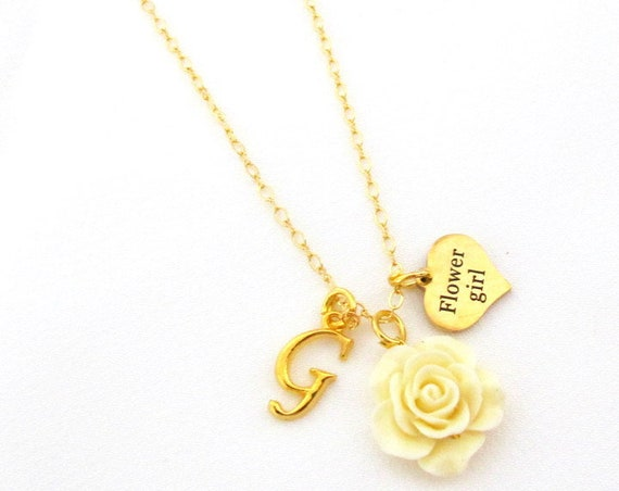 Personalized Flower Girl Necklace, Flower girl Gift, Flower girl jewelry, Gold Necklace, Wedding Gift Jewelry, Junior Bridesmaid Necklace