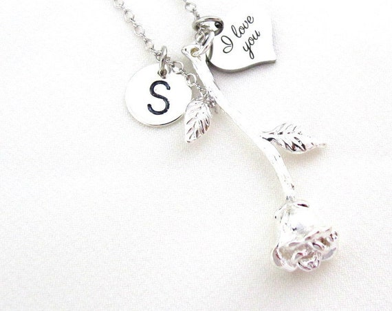 Rose Pendant Necklace,Silver Rose Flower Necklace,I Love You Heart Pendant,Initial Necklace,Valentine's Jewelry,Love gift,Free Shipping USA