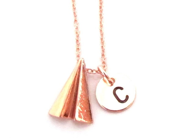 Rose Gold Paper Plane Necklace,Rose Gold Paper Airplane Charm,Origami Airplane Necklace,Traveler Gift, Travel, Wanderlust, Free Shipping USA