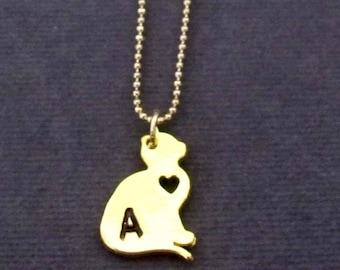 Collier de chat personnalisable, personnaliser collier de chat, collier chat or, cadeau d'amant de chat, chat amoureux des bijoux, livraison gratuite aux États-Unis