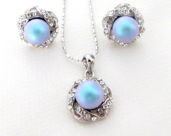 Wedding Pearl jewelry,Pearl Pendant,Pearl Pendant Earrings Lite Blue pearl pendant, Bridal Jewelry,bridesmaid jewelry set,Free Shipping USA