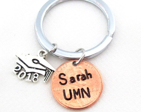 Graduation Keychain,Class of 2018 Graduation Gift,Personalized Penny Keychain,Graduation Gift,University name Keychain,Free shipping in USA