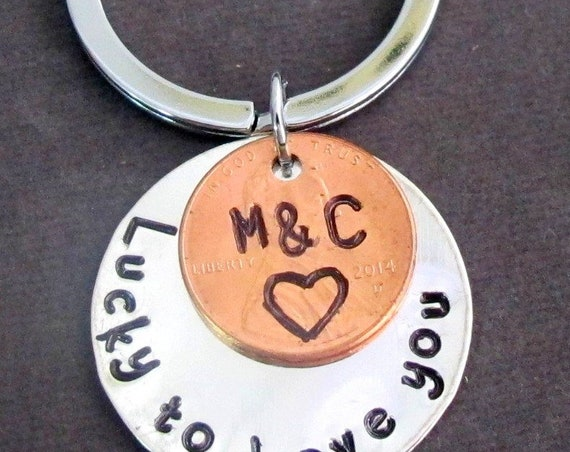 Lucky to Have You Handstamped Penny Keychain,Couples Keyring,Anniversary Gift for Husband,Wedding gift for Groom,gift for Bride,Spouse gift