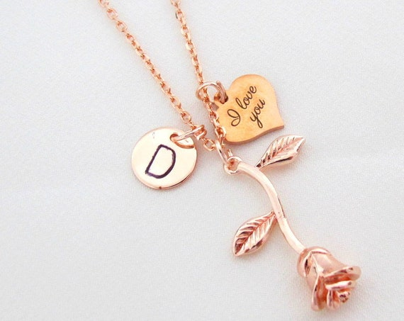 Rose Gold I Love You Necklace,Rose gold Rose Flower Necklace, Daughter Necklace, Girlfriend gift,Anniversary Gift for Wife,Free Shipping USA