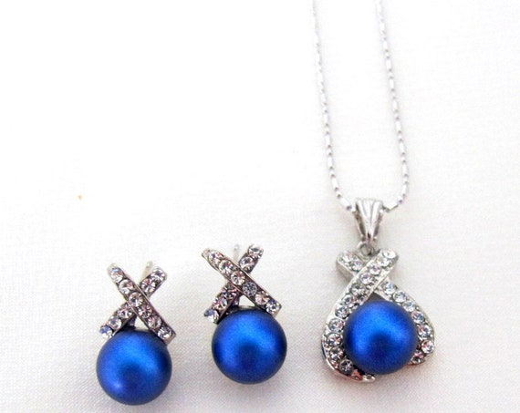 Royal Blue Jewelry Set, Bridesmaid Gift, Bridesmaid Proposal,Wedding pearl pendant jewelry,Ivory pendant,Coral  Pendant,Free shipping USA