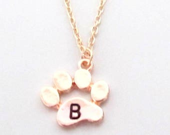 Paw Print Necklace with initial, Custom charm for dog mom or cat mom gift, Personalized jewelry for pet loss, Paw necklace, Best friend gift