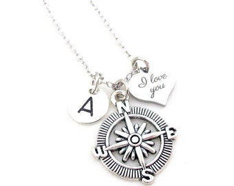 Compass Necklace,I Love You Compass Necklace,No Matter Where I Love You,Love gift,Long Distance Relationship,Inspirational,Free Shipping USA