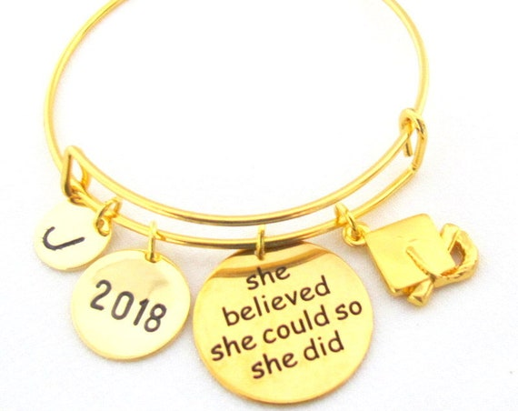 Gold Graduation Bangle,Personalized Graduation Bracelet,2020  Graduate gift,College Graduate,Gift for Her,Gifts for Graduates,Graduation Cap