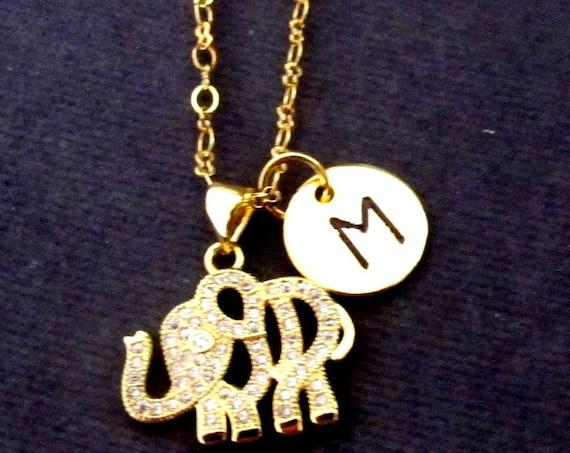 Elephant Necklace, Gold Elephant Necklace, Minimalist Necklace, Baby Elephant Charm, Silver Elephant, Rose Gold Elephant, Free Shipping USA