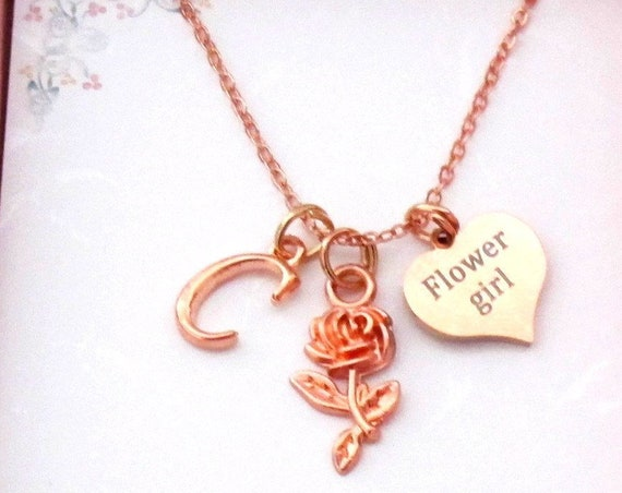 Personalized Rose gold Flower girl Necklace,Flower Girl gift, Flower girl necklace initial necklace,Flower Girl Proposal,Rose gold necklace