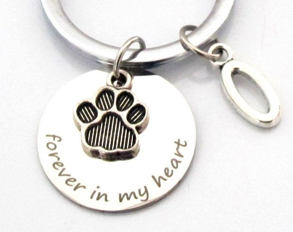 Pet Loss Keychain,Customized Pet Keychain ,Paw Print keychain,Forever in my heart,Remembrance gift, Pet Grief Keychain,Free shipping USA