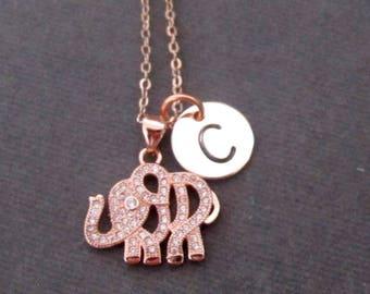 Rose Gold Elephant Necklace,Rose Gold Elephant Jewelry,Tiny Rose Gold Elephant Charm,Bridesmaid Gift, Minimalist Necklace, Free Shipping USA