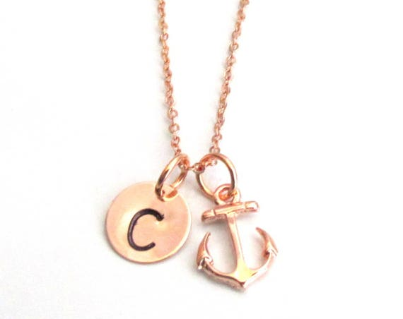 Personalized Rose Gold Necklace,Anchor Necklace Anchor Jewelry,Rose Gold Initial Necklace,Bridesmaid Necklace Gift ,Free Shipping in USA