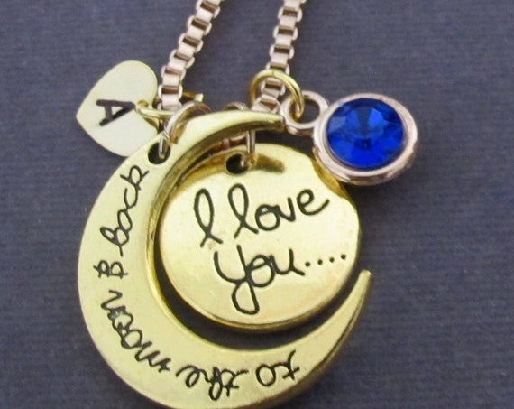 I Love You to the Moon and Back Necklace,Love Jewelry,Friend,Daughter,Grandma,mom,Aunt,Christmas gift,Valentine's gift, Free Shipping In USA