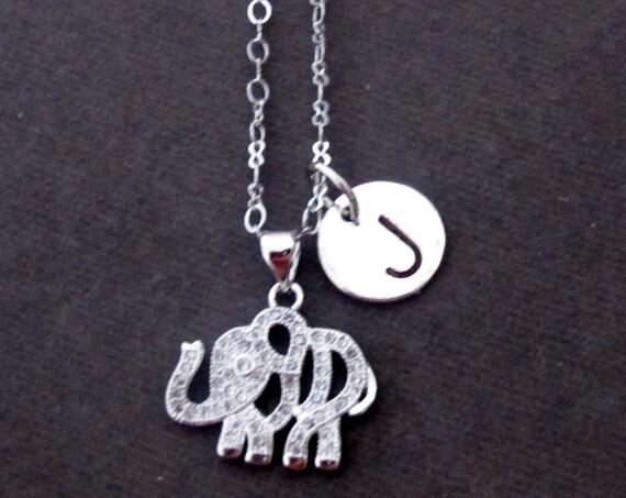 Silver Elephant Necklace,Tiny Silver Elephant Necklace,Baby Elephant Charm, Bridesmaid Necklace, Dainty Layering Necklace, Free Shipping USA